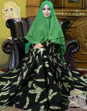 Model Baju Gamis Syari Motif Daun Modern Terbaru