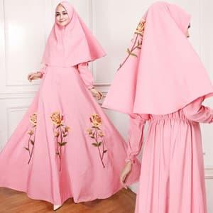 Setelan Baju Gamis Bordir dan Jilbab Model Terbaru