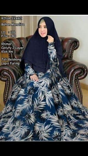 Setelan Baju Gamis Syari Motif Modern Model Terbaru