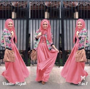 Setelan Baju Muslimah Wanita 3 in 1 Model Terbaru