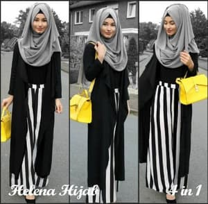 Setelan Baju Muslimah Wanita Set 4 in 1 Rok Long Cardigan