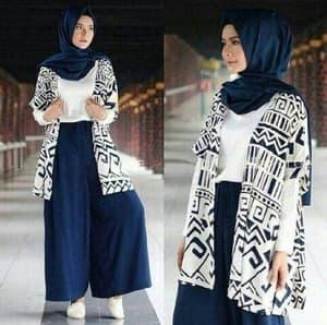 Setelan Baju Celana dan Cardigan Panjang Muslimah Wanita