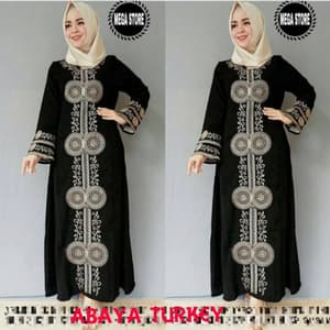 Baju Gamis Abaya Bordir Long Dress Hijab Warna Hitam