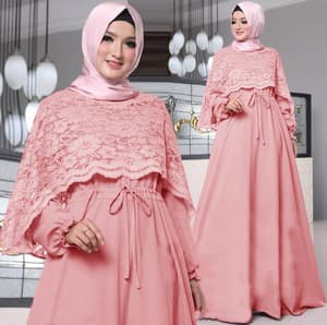 Baju Gamis Cape Brukat Long Dress Hijab Model Terbaru