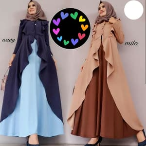 Baju Gamis Long Dress Muslim Bahan Balotelli Modern