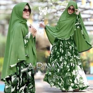 Baju Gamis Syari Setelan Hijab Motif Army Modern