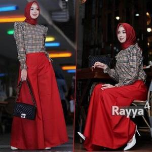 Setelan Baju Celana dan Hijab Muslim Wanita 3 in 1 Modern