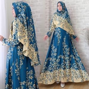 Setelan Baju Gamis Syari Motif Bahan Maxmara Modern