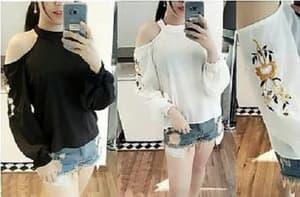 Baju Atasan Wanita Blouse Bahu Bolong Lengan Panjang