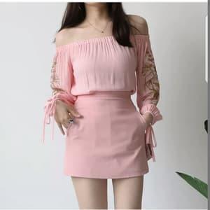 Baju Blouse Atasan Sabrina Bordir Lengan Panjang