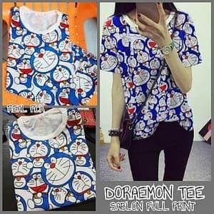 Baju Kaos Wanita Lengan Pendek Motif Doraemon