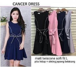 Baju Mini Dress Pendek Pita Cantik Lengan Buntung