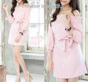 Baju Mini Dress Pendek Sabrina Cantik Model Terbaru