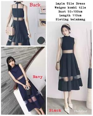 Baju Mini Dress Pendek Seksi Kombinasi Bahan Tile