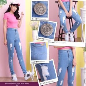 Celana Panjang Jeans Sobek Wanita Modern Murah
