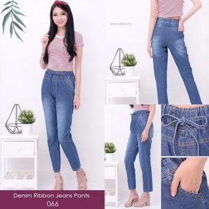 Celana Panjang Jeans Wanita Pinggang Karet Modern