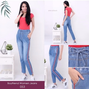 Celana Panjang Wanita Bahan Jeans Pinggang Karet