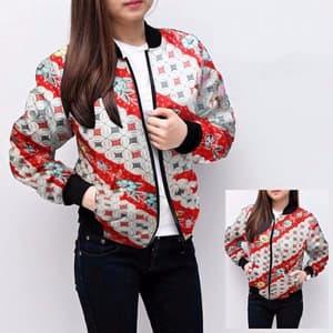 Jaket Bomber Wanita Motif Batik Model Terbaru