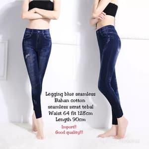 Model Celana Panjang Legging Biru Wanita Modern