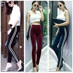Model Celana Panjang Legging Bludru List Terbaru Ryn Fashion