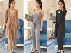 Setelan Baju Jumpsuit dan Long Cardigan Modern