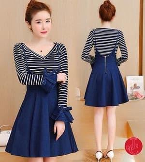 Setelan Baju Overall Mini Dress Pendek Lengan Panjang