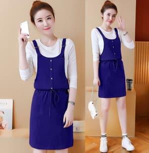 Setelan Baju Overall Mini Dress Pendek dan Inner