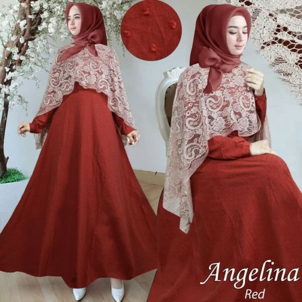 Baju Gamis Long Dress Hijab Cape Brukat Modern