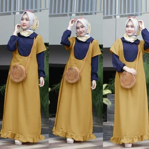 Baju Gamis Long Dress Muslim Kombinasi Warna