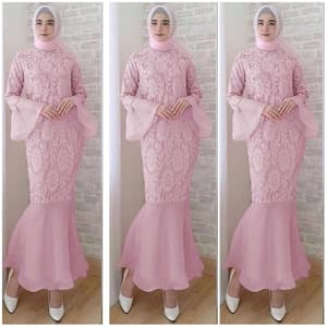 Baju Gamis Pesta Brukat Model Penguin Mermaid Ryn Fashion