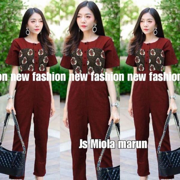 Baju Jumpsuit Panjang Cantik Motif Batik Modern