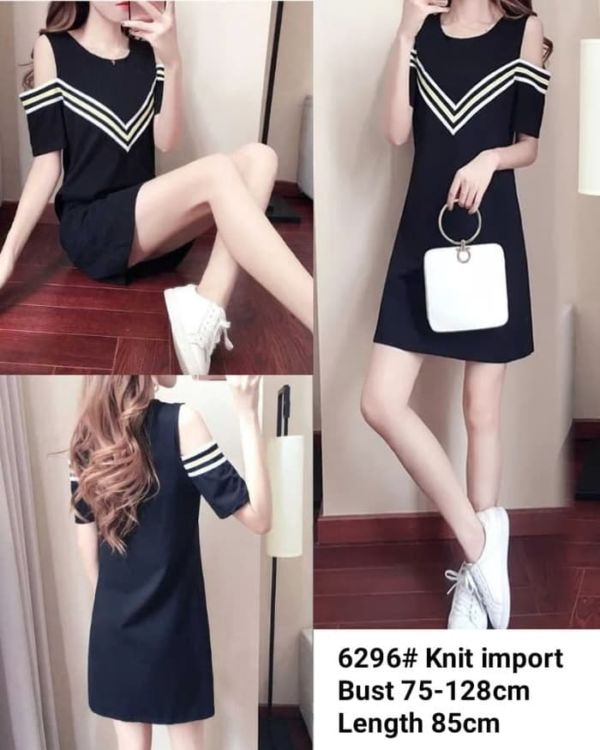 Baju Mini Dress Pendek Bahan Rajut Bahu Bolong