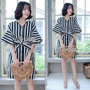Baju Mini Dress Pendek Motif Salur Belang Modern