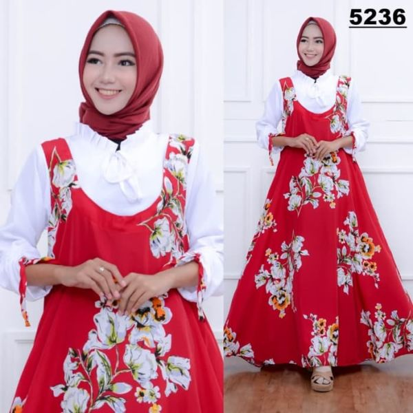 Model Baju Long Dress Hijab Gamis Motif Terbaru