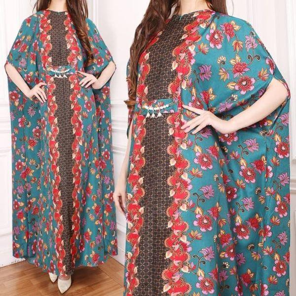 Model Baju Long Dress Kaftan Motif Batik Terbaru