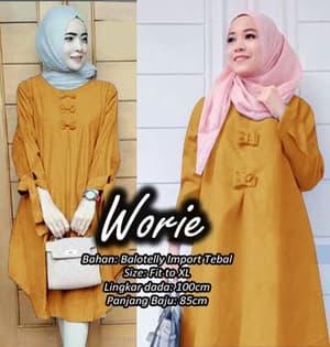 Model Baju Tunik Pita Blouse Hijab Lengan Panjang