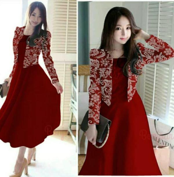 Setelan Baju Long Dress dan Cardigan Cantik Modern