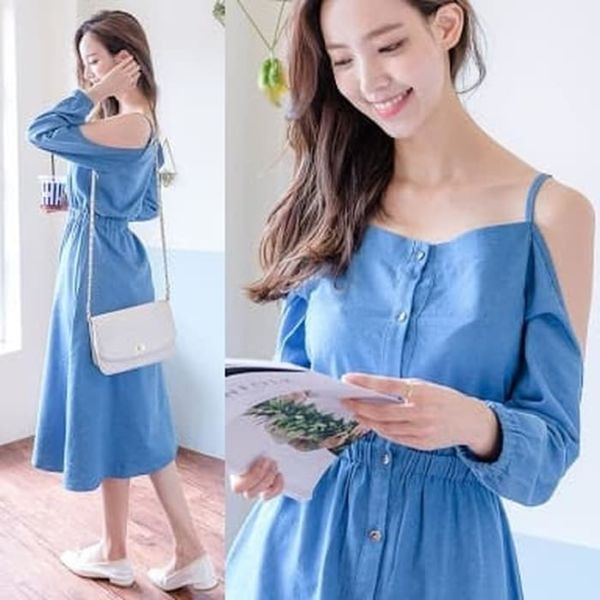 Baju Dress Bahu Bolong Cantik Modern Model Terbaru