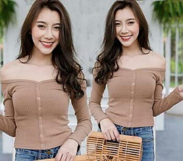 Model Baju Atasan Sabrina Lengan Panjang Anak Muda