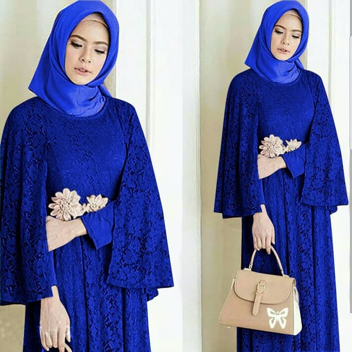 Model Baju Gamis Long Dress Hijab Brukat Terbaru RYN Fashion