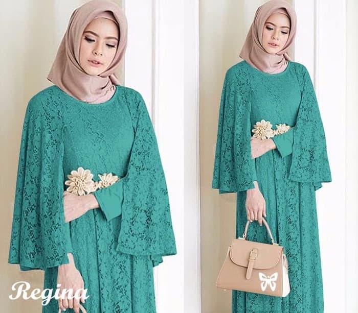 Model Baju Gamis Long Dress Hijab Brukat Terbaru