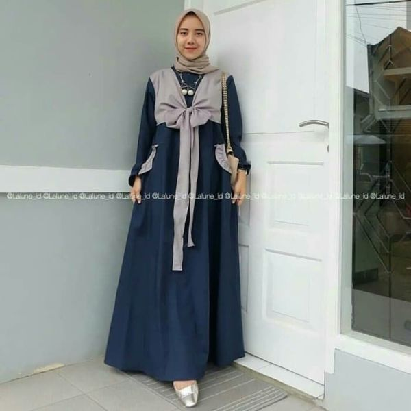 Model Baju Gamis Long Dress Hijab Pita Terbaru