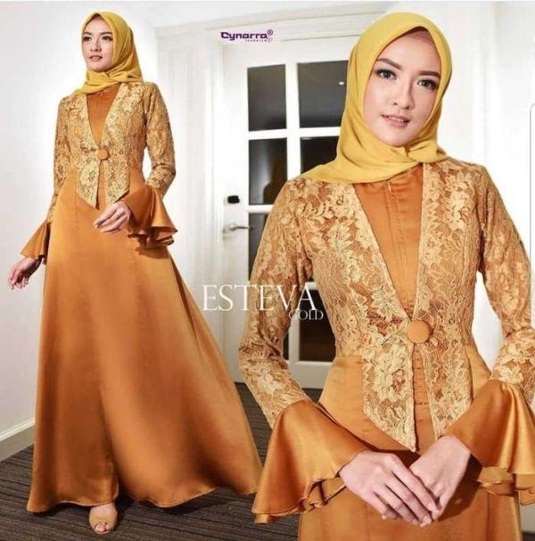 Model Baju Gamis Pesta Kombinasi Bahan Brukat Terbaru