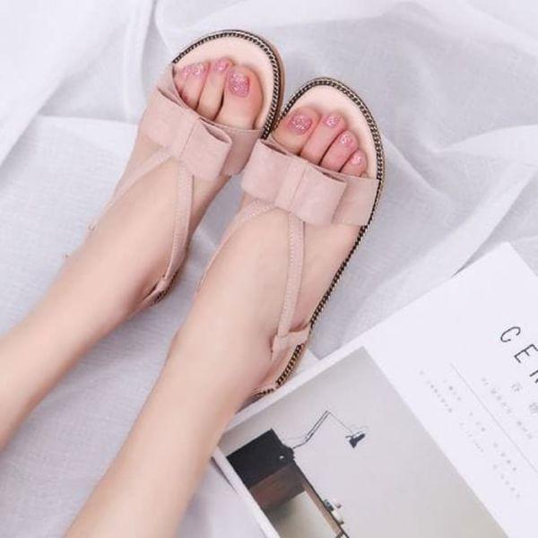 Sandal Flat Teplek Wanita Aplikasi Pita Cantik Modern