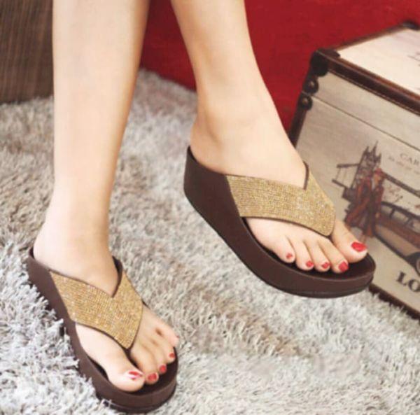 Sandal Wedges Jepit Gliter Cantik Model Terbaru