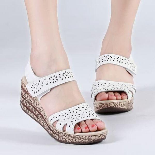 Sandal Wedges Laser Tinggi Wanita Cantik Modern