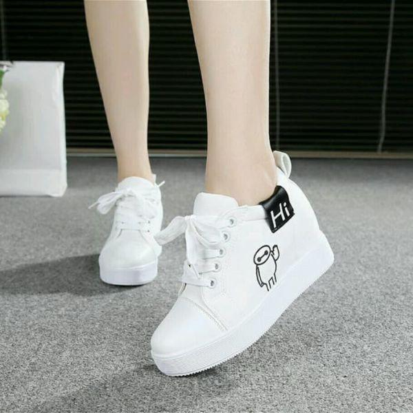 Sepatu Wedges Bertali Warna Putih Model Terbaru
