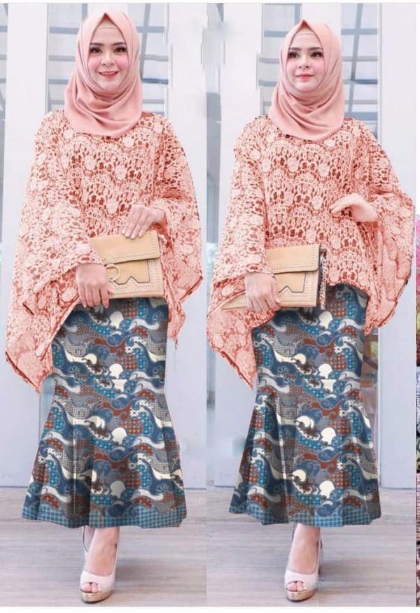 Setelan Baju Kebaya Batwing Brukat dan Rok Panjang