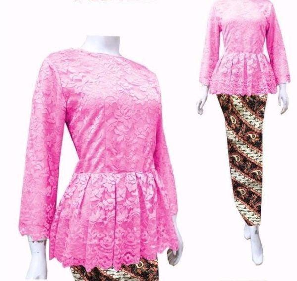 Setelan Baju Kebaya Brukat dan Rok Batik Modern
