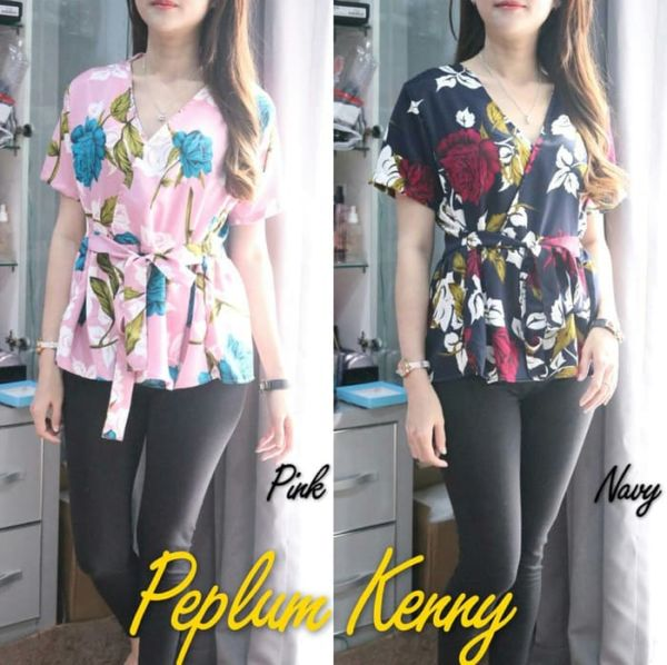Baju Atasan Wanita Blouse Peplum Lengan Pendek